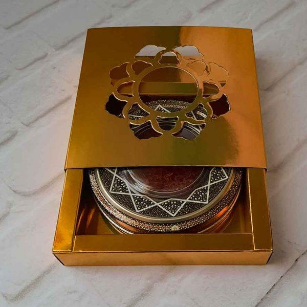 زعفران سرگل ممتاز درجه یک طرح خاتم با جعبه
