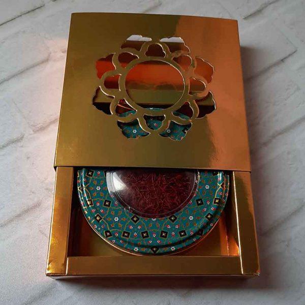 زعفران سرگل ظرف سبز و جعبه
